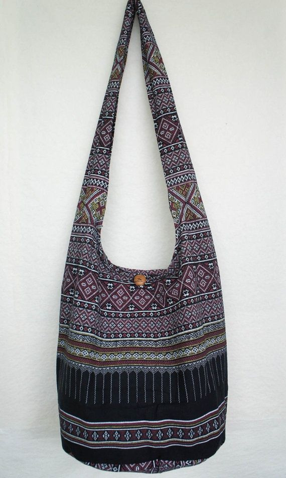 YAAMSTORE thai northern art graphic black hobo bag sling shoulder crossbody hippie boho purse