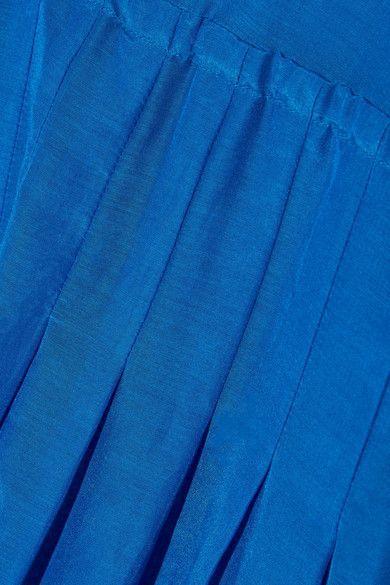 Diane von Furstenberg - Pleated Cotton And Silk-blend Gauze Midi Dress - Bright blue