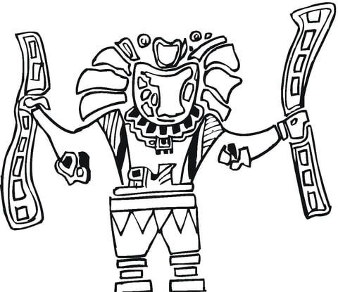 Arte Azteca Dibujo para colorear
