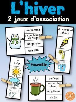 L'hiver - Ensemble de 2 jeux d'association utilisant les pinces à linges pour travailler le vocabulaire de l'hiver dans les centres de littératie.