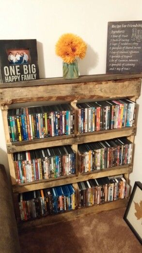 Pallet to dvd rack//then put it on the other side of head of the bed//headboard bookshelf... Cool AND free. Woot!