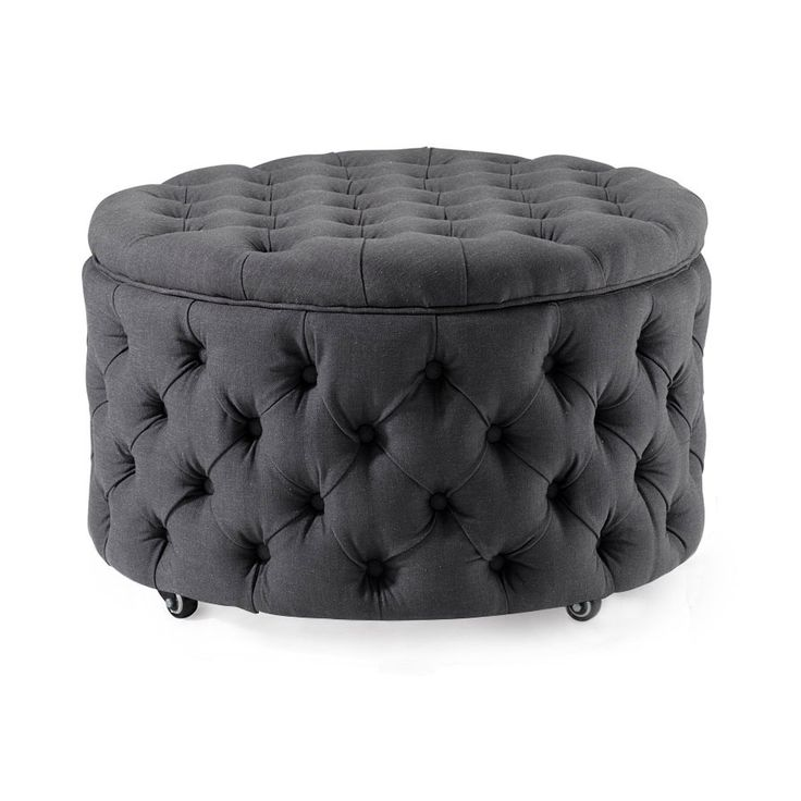 The Emma Storage Ottoman Large in Charcoalis perfect for a living room center piece and has inner storage space ideal for blankets, seasonal clothing, and a...