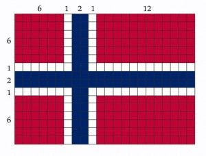 Det norske flagget med korrekte farger og proposjoner / bredde: 6-1-2-1-12 og høyde: 6-1-2-1-6 / norsk rød: pantone 200 og norsk blå: pantone 281