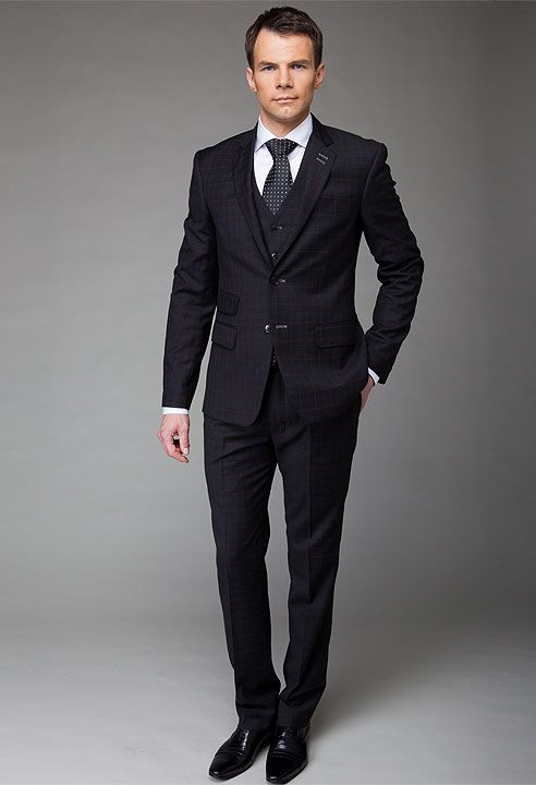 Black three piece checked suit