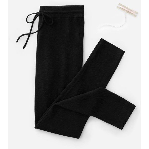 Everlane Women's The Cashmere Sweatpant Sweater (455 PEN) ❤ liked on Polyvore featuring tops, sweaters, black, everlane, pure cashmere sweaters, everlane sweater, cashmere top and cashmere sweater