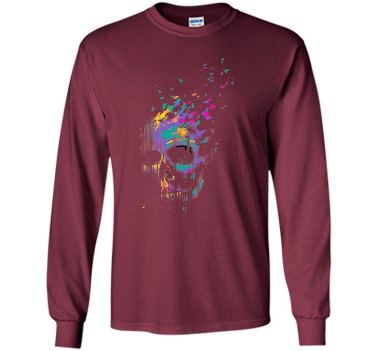 Charming Defragged Neon Skull 2017 T Shirt