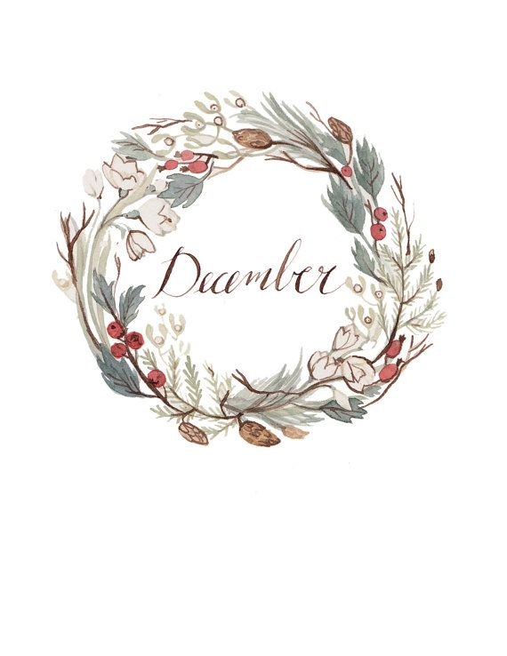 Watercolor floral wreath flowers berries green Fred December month logo feminine woodsy design wreath illustration