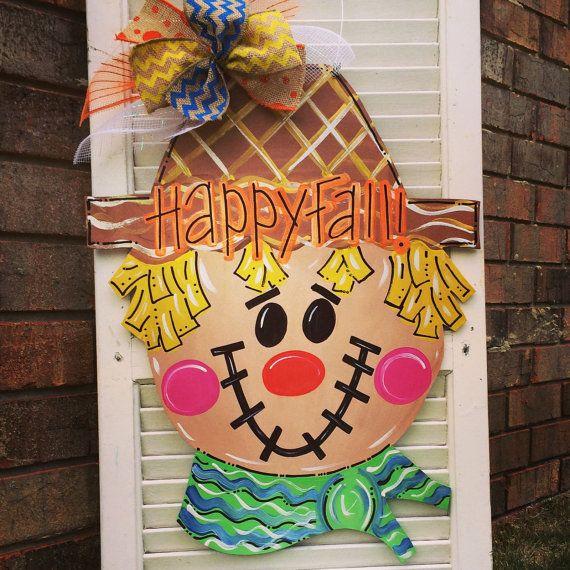 Scarecrow Door Hanger Fall Door Hanger by JustPlainADoorAble