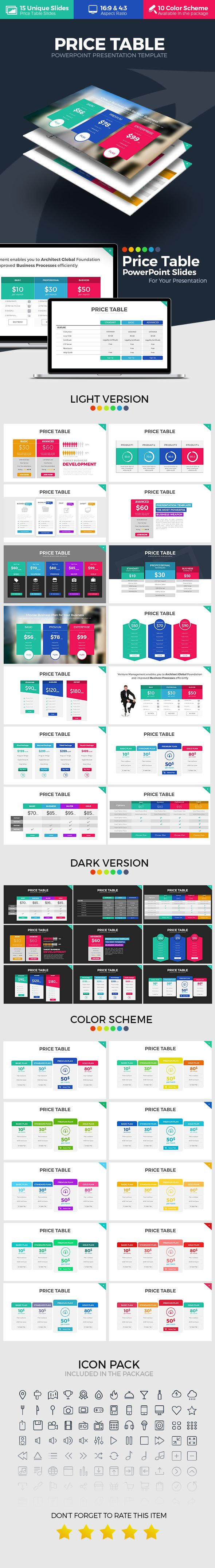 Price Table PowerPoint Template. Download here: https://graphicriver.net/item/price-table-powerpoint-template/17463768?ref=ksioks