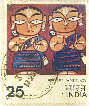 A Stamp of India Featuring a Jamini Roy's Painting
