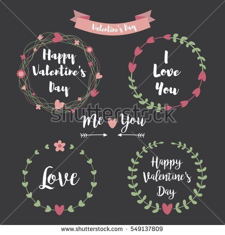 Happy Valentines Day Hand Drawing Vector Lettering design. Set of floral frame Typographic on Chalkboard background with ornaments, Hearts, Ribbon and Arrow.