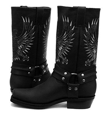 Grinders Bald Eagle Black Mens Cowboy Boots Size UK 9