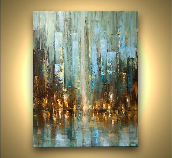 ORIGINAL Abstract City Painting Modern Acrylic Palette