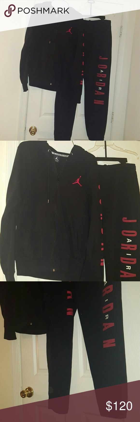 Nike Air Jordan men's / womens sweat suit black This is a men's Nike Air Jordan sweat suit I purchased it for myself smallest jacket I could get was a man small and that was a little too big for me the pants are medium and they are also too big it would fit a large woman both jacket and pants. Nike Air Jordan  Other
