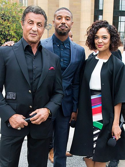 Star Tracks: Monday, November 9, 2015   KNOCK OUT   The cast of Creed – Sylvester Stallone, Michael B. Jordan and Tessa Thompson – make an appearance at the Philadelphia Museum of Art on Friday.