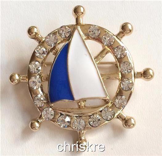 Ships Wheel Sailboat Pin Brooch Gold Plated Blue Enamel Crystal Helm Boat USA #CrystalAvenue