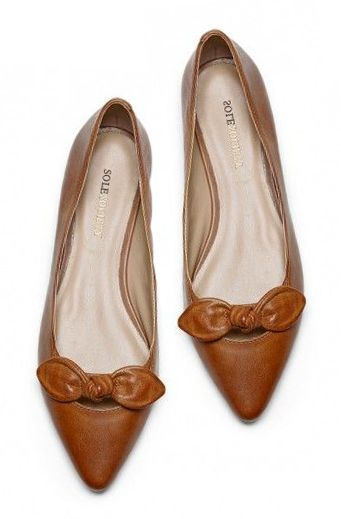 Cognac Bow Flats #fashion #bow #flats #shoes