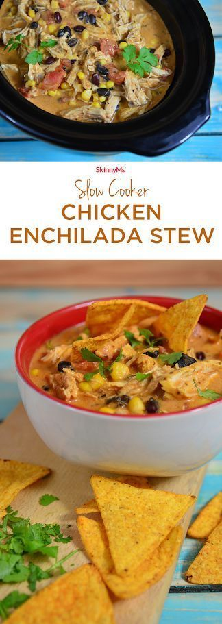 This Slow Cooker Chicken Enchilada Stew is a perfect addition to your collection of soups and stews. :) #slowcooker #soup #stew #skinnyms #fall