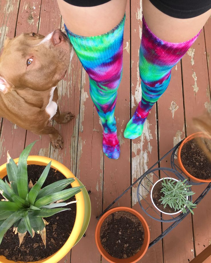 MADE TO ORDER Tie Dye Thigh High Socks - Custom Psychedelic Trippy Boho Festival Hoop Pole Dance TieDye Clothing For Sale