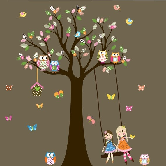 Vinyl Wall Decal Stickers   Owl Tree with Swing and dolls birds Nursery Girls Baby