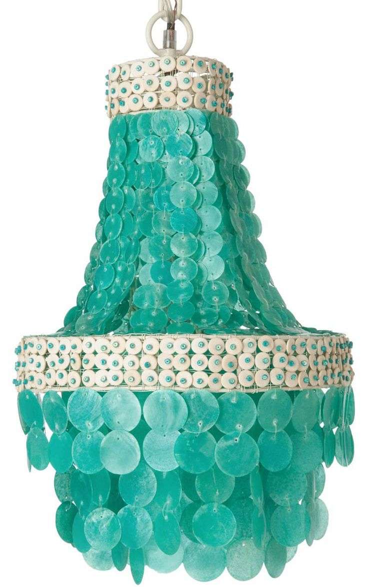 manor turquoise capiz seashell chandelier - Turquoise Chandelier Light