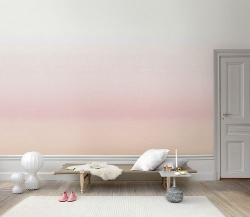 This ombré wallpaper will turn walls into a perpetual sunset.  Image courtesy of Sandberg.