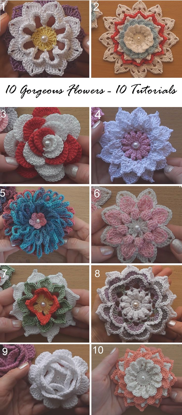 10 Gorgeous Flowers – 10 Crochet Tutorials