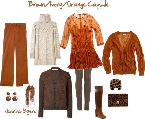 """""""Brown/Ivory/Orange Capsule"""" by jeaninebyers on Polyvore"""