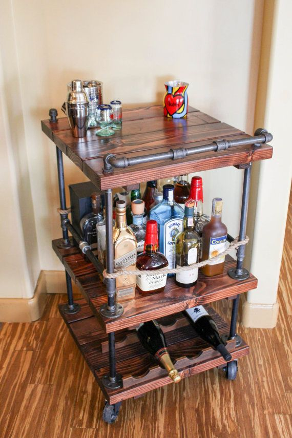 Rustic Pipe Bar Cart – Industrial Pipe & Wood bar / Unique bars / whiskey bar / wine cart / kitchen island / rollaway bar / rustic furniture