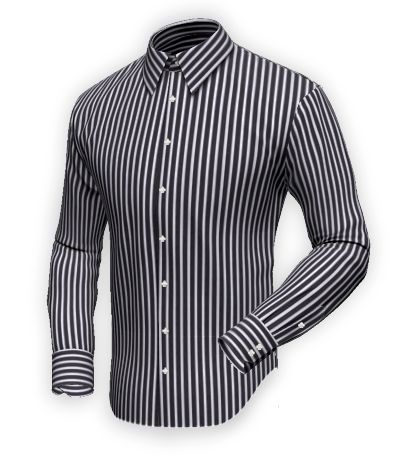81e8ea7143 Desla Black-white-blue striped shirt, 100% cotton, Easy Care. Custom shirt  with a fabric that combines thick black and white stripes with thi…