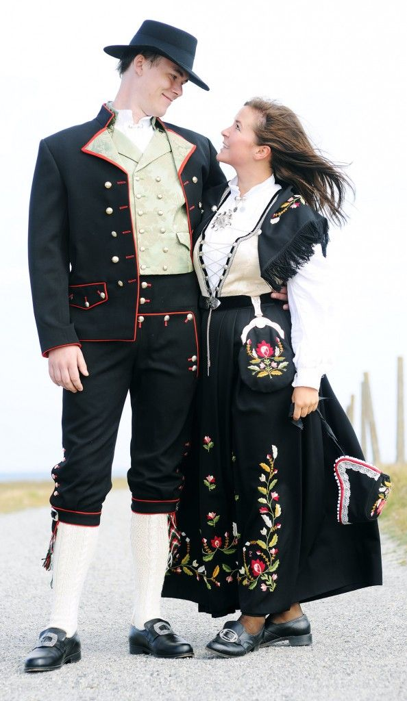 Rogaland bunad, Bokn pattern. Aww, this is how my cousin looked at his wedding,  with the white stockings and all.