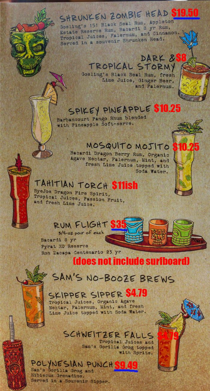 Walt Disney World Polynesian Trader's Sam's Grog Grotto drink prices