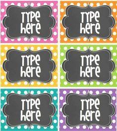 Editable Polka Dot Tags- BRIGHT polka Dot with Chalkboard-
