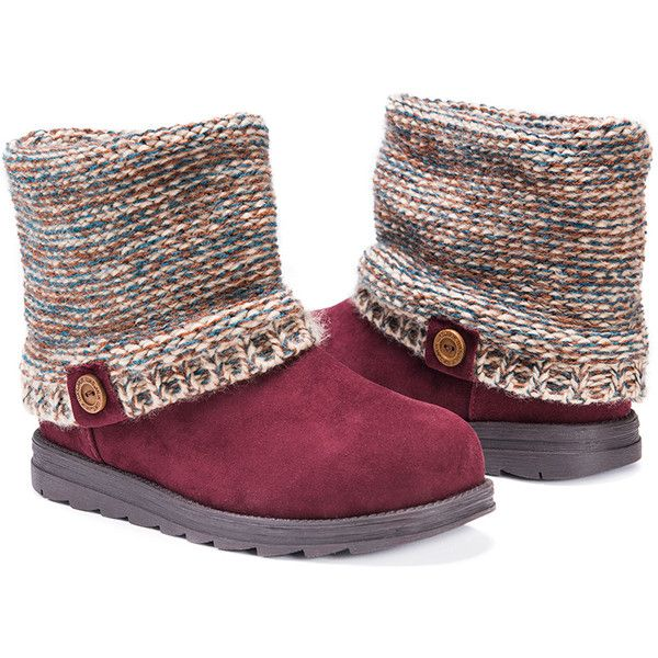 Women's Muk Luks Patti Women's Boots6/Almond ($45) ❤ liked on Polyvore featuring shoes, boots, boots & booties, red, faux fur lined boots, knit shoes, knit boots and faux fur lining boots