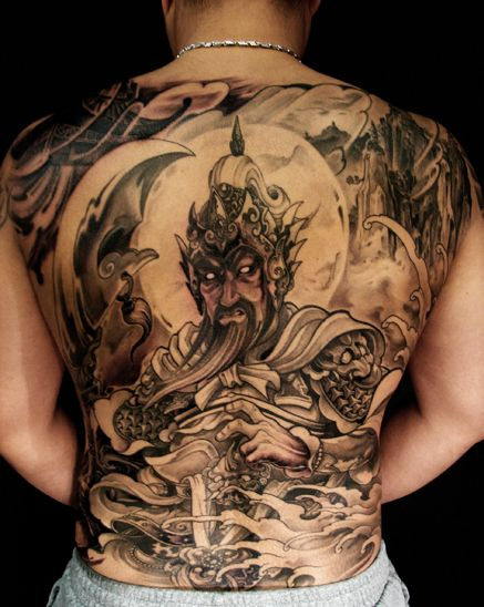 Toronto tattoo shop - Gwan Yu warrior tattoo on back ...
