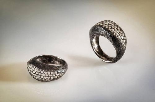 DAVID CHKHEIDZE RING 2 silver, zircone.