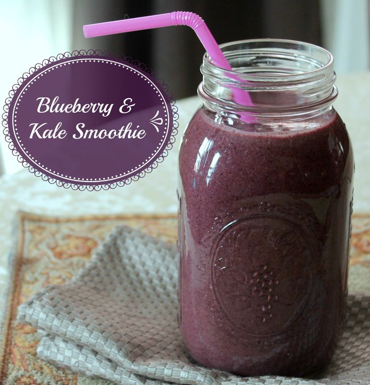 Blueberry Kale Green Smoothie healthy smoothie recipe for weight loss