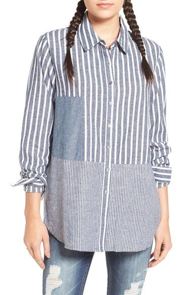 Chloe & Katie Stripe Linen Blend Shirt available at #Nordstrom