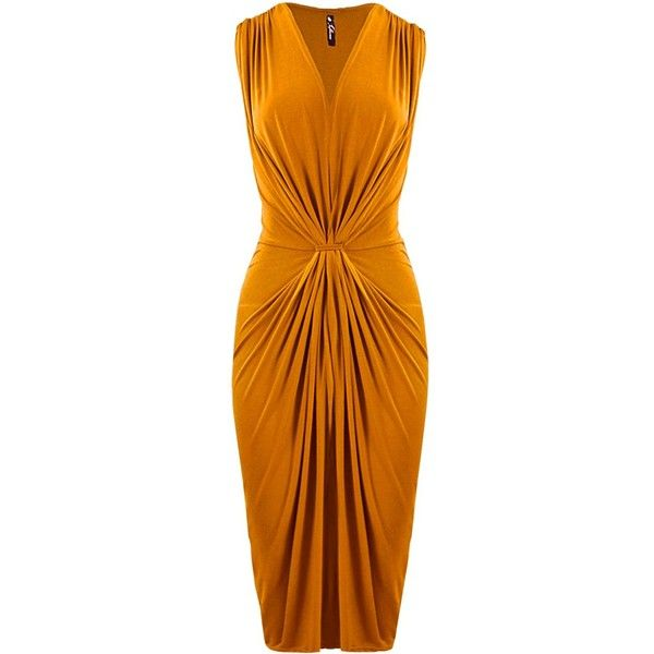 Mustard Midi Dress with Gathering Detail ($19) ❤ liked on Polyvore featuring dresses, ruched dress, ruched midi dress, high-low dresses, mustard yellow dress and shirred dress