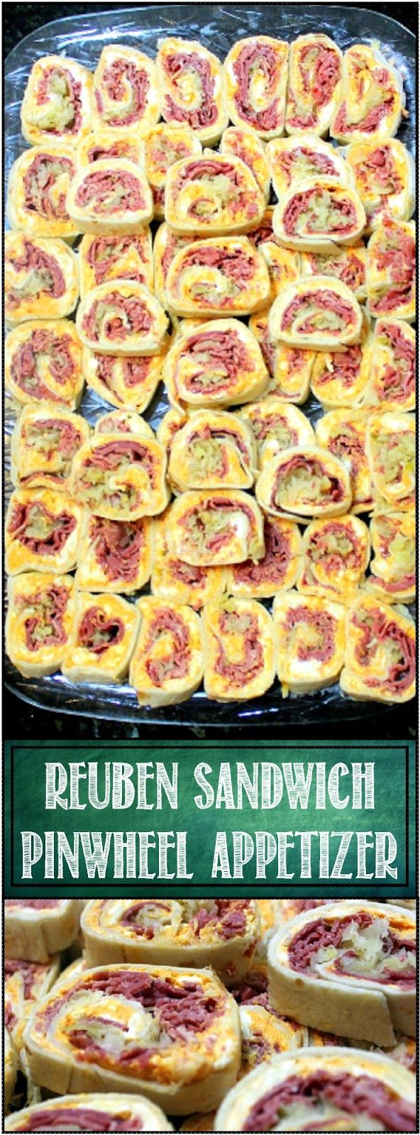 "Reuben Pinwheel Sandwich - 52 Appetizers - This is a GUARANTEED EMPTY PLATE! All the flavors of a classic Reuben sandwich (Swiss Cheese, Russian Dressing, Irish Corned Beef and German Sauerkraut in a hand held ""Just a Little Bite Appetizer. PEOPLE LOVE THESE!"