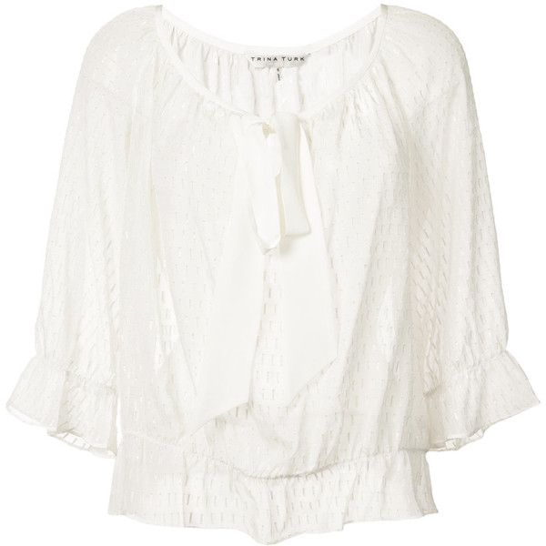 Trina Turk embroidered blouse ($215) ❤ liked on Polyvore featuring tops, blouses, white, white peplum top, white blouse, scoop neck blouse, 3/4 sleeve tops and white top