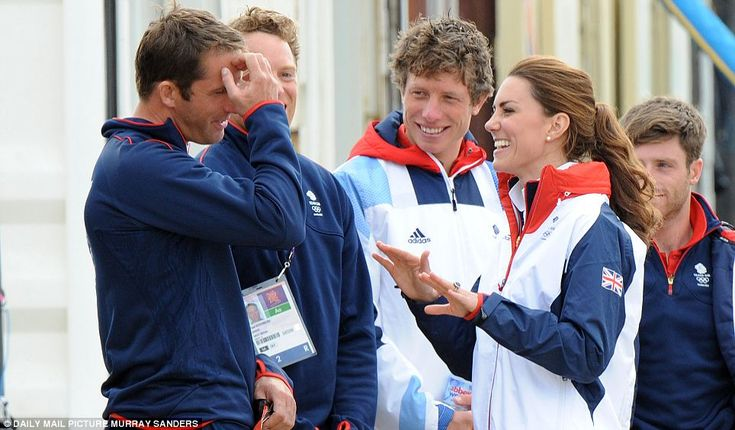 Team GB's sailing team share a joke with the Duchess of Cambridge in Weymouth
