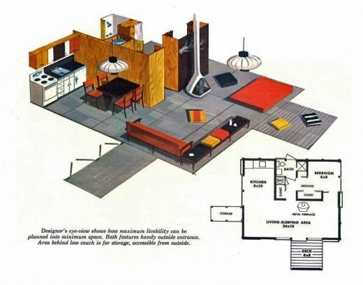 """SECOND HOMES FOR LEISURE LIVING"", 1960: Mid Century Modern, Midcenturi Inspiration, Fir Plywood, Floors Plans, Douglas Fir, Leisur Living, Homes, Midcenturi Modern, Teas House"