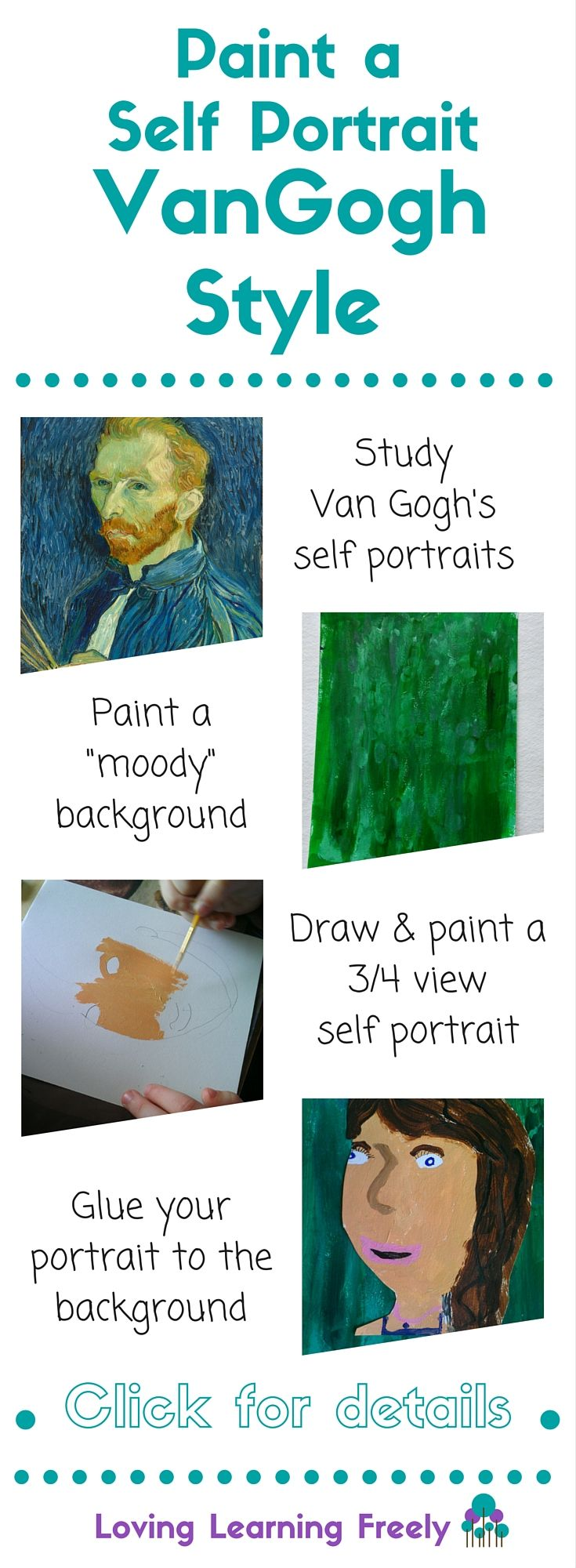 Paint a Self-Portrait Van Gogh Style...VanGogh painted over 30 self portraits. With this art lesson, kids study Van Gogh's self portraits and paint their own.