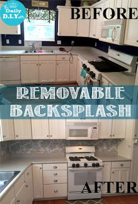 Kitchen makeover on the CHEAP.  Use contact paper to update your kitchen's back splash.  It's inexpensive and removable!  Great for renters or temporary housing! The Daily DIYer: Removable Backsplash