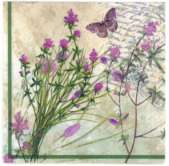 Decoupage Napkins  French Lavender Garden and Butterfly in