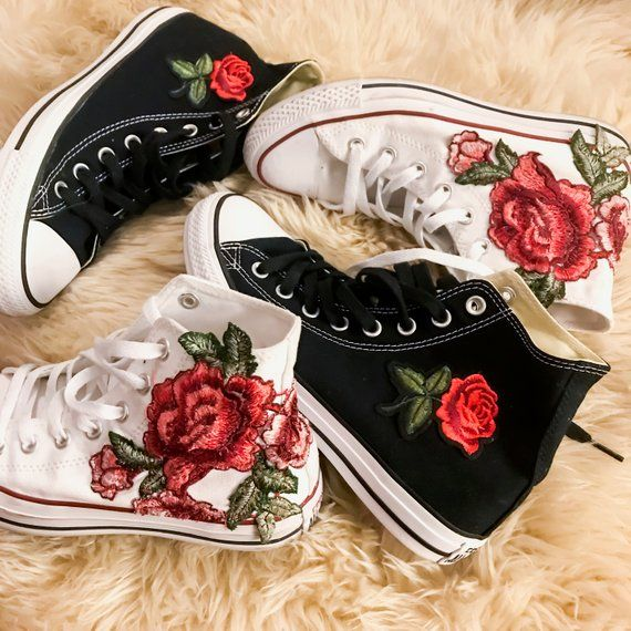 Rose Embroidered High Top Converse All stars Floral Shoes