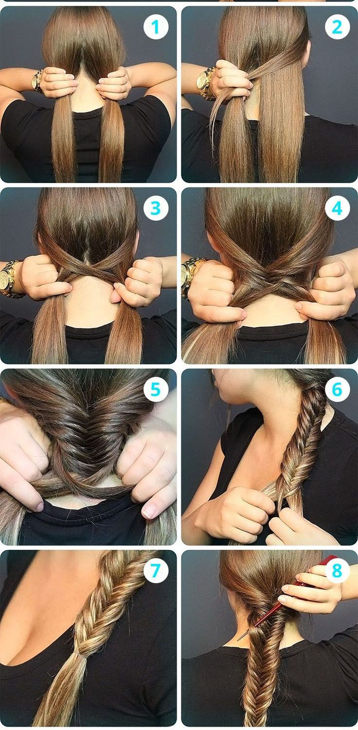 Fishtail Braid: 1. Get a small handful of hair from the back of the head and separate the hair into two sections. 3.-4. Take a small amount of hair from the right section, pull it back and cross it over to cover the left hair section. 5.-6. Repeat 3-4, but this time switch sides. From Left to right. 8. Secure with hair tie.To get this look gently loosen the braid.
