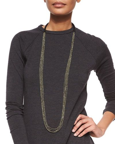 Y2QRE Brunello Cucinelli Multi-Strand Beaded Long Necklace, Pyrite