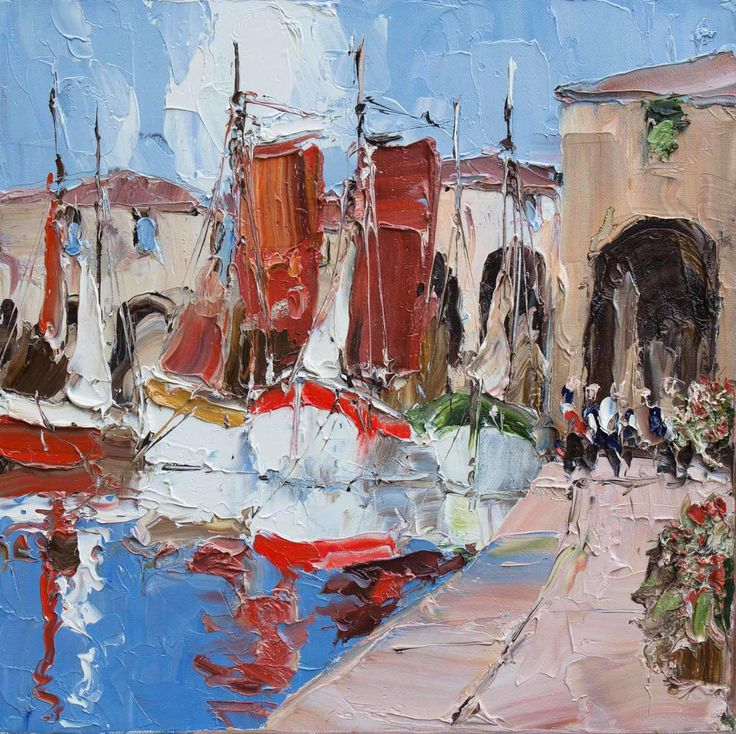 Harbour Stroll, original oil painting by Erich Paulsen (16 x 16 inches)